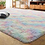 LOCHAS Luxury Velvet Shag Area Rug Modern Plush Fluffy Rugs, Extra Soft and Comfy Carpet, Cute Rainbow Rugs for Bedroom Living Room Girls Kids Nursery Classroom, 5x8 Feet