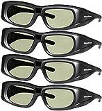 3DHeaven 4 Pack Rechargeable 3D Glasses Compatible with EPSON ELPGS03 3-D Glasses