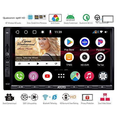 ATOTO S8 Pro S8G2A75P, video per auto con cruscotto Android con navigazione (senza DVD), doppio BT con aptX HD, collegamento telefonico, display QLED, parcheggio VSV, carica QC3.0 e altro