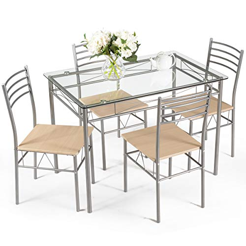 Giantex 5 Piece Dining Table Set, Kitchen Dining Set with Tempered Glass Table Top and 4 Chairs, Dinette Set for 4 for Breakfast Dining Room Kitchen