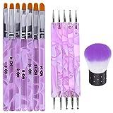 Kalolary 13PCS Uv Gel Nail Art Builder Brush Dotting Pen Tool Nail Art Dust Remover Brushes Powder for Nail Salon Home Use Gift for Women Girl