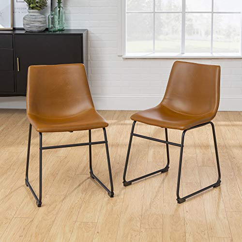 Walker Edison Douglas Urban Industrial Faux Leather Armless Dining Chairs, Set of 2, Whiskey Brown