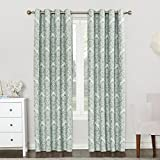 Sun Zero Caroline Woven Damask Blackout Lined Grommet Curtain Panel, 52' x 84', Aqua