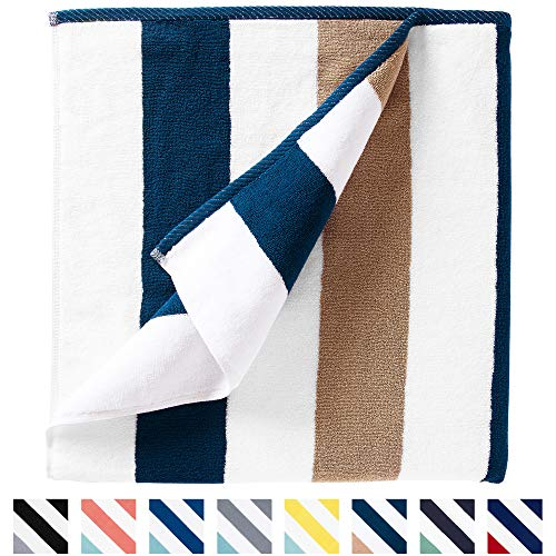 Oversize Plush Cabana Towel by Laguna Beach Textile Co | 1 Classic, Beach and Pool House Towel (Ocean Blue & Almond)
