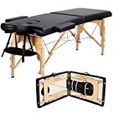 Yaheetech Massage Table Portable Massage Bed Massage Therapy Table Spa Bed 84 Inch Adjustable 2 Fold Salon Bed Face Cradle Bed Black