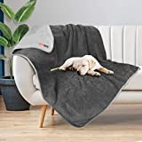 Petacc Waterproof Dog Blankets Reversible Design 50'x60', Liquid Proof Pet Blanket for Couch Sofa, Soft Warm Flannel Sherpa Sleep Mat for Dog Cat, Waterproof Dog Bed Cover-Machine Washable