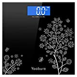 Yoobure Weight Precision Digital Body Bathroom Scale with Step-on Technology, 6mm Tempered Glass Easy Read Backlit LCD Display, 400 Pounds (Black)