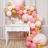 PartyWoo Ballon Rose Or, 66 pcs Ballon Rose, Ballon Doré, Ballon Pastel Rose,...