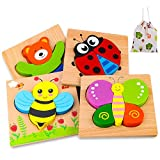 Wooden Puzzles for 1 2 3 Years Old Girls and Boys, 4 Pack Animal Puzzles Educational and Learning Toys for Toddlers
