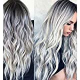 23' Natural Full Wigs Hair Long Wavy Wig Synthetic Heat Resistant (Ombre Silver)