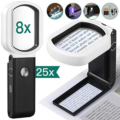 Magnifying Glass with Light, 25X 8X Rechargeable Handheld and Standing Magnifying Glass 9 LED Illuminated Lighted Magnifier for Reading, Inspection, Jewelry, Exploring, Hobbies & Crafts