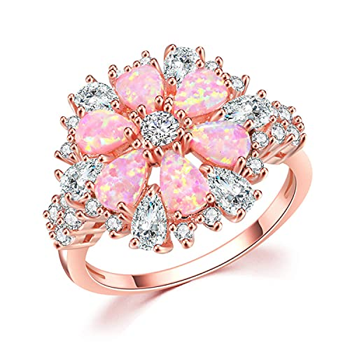 CiNily Flower Opal Ring-Pink Opal Cubic Zirconia CZ Ring 14K...