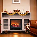 JAXPETY 42.5' Large 1250W Room Adjustable Electric Fireplace TV Stand, Fireplace Space Heater TV Console, Gray