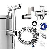 Tesyfk Handheld Bidet Toilet Sprayer, Stainless Steel Bathroom Bidet Sprayer Kit for Toilet Cloth Diaper Sprayer, Baby Cloth Diaper Sprayer Combo and Shower Attachment