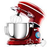 COSTWAY Stand Mixer, 660W Electric Kitchen Food Mixer with 6-Speed Control, 6.3-Quart Stainless Steel Bowl, Dough Hook, Beater, Whisk (Red-update)