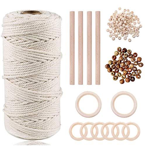 Macrame Cuerda, 3mmx100m Cordón Hilo de Algodón Natural Co