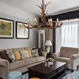 BOOU Deer Antler Chandeliers Lighting, 6 Light Rustic Deer Horn Pendant Light for Living Room Dining Room Bedroom BN-1020-6