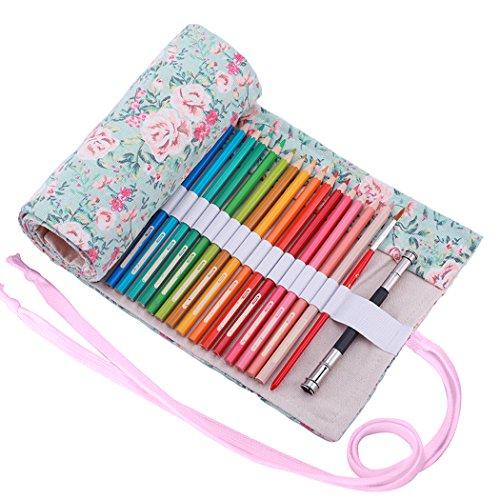 amoyie Sacchetto della matita tela rotolo astuccio per 48 matite colorate (no inclusa matite) - Floreale