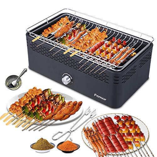 Femor Barbecue Grill Barbecue a Carbone Senza Fumo,RiscaldamentoRapidoVentilazionForteGriglia, pu...