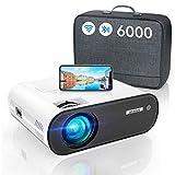 Vidéoprojecteur WiFi Bluetooth, 6000 LM WiMiUS Vidéoprojecteur WiFi Portable Full HD Supporte 1080P Mini Projecteur WiFi LED Home Cinéma Fonction Zoom pour...