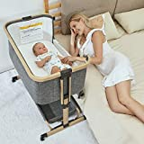 3 in 1 Baby Bassinets,AMKE Bedside Sleeper for Baby, Baby Crib with Storage Basket for Newborn, Easy Folding Bassinet for Baby and Safe Co-Sleeping,Adjustable Portable Baby Bed,Travel Bag Included