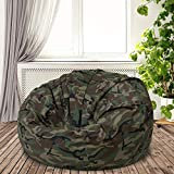 Multi Functional Oversized Bean Bag Chair for Adults | Camouflage Home Decor Cool Casual Modern | Memory Foam Cushy Soft Plush Cozy Fun Comfortable Lightweight Design Pouf Ottoman Solid
