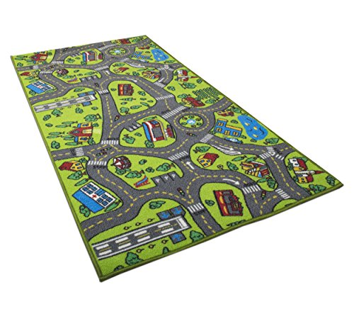 Kids Carpet Playmat Rug City Life Great for Playing with Cars and Toys - Play, Learn and Have Fun Safely - Kids Baby, Children Educational Road Traffic Play Mat, for Bedroom Play Room Game Safe Area