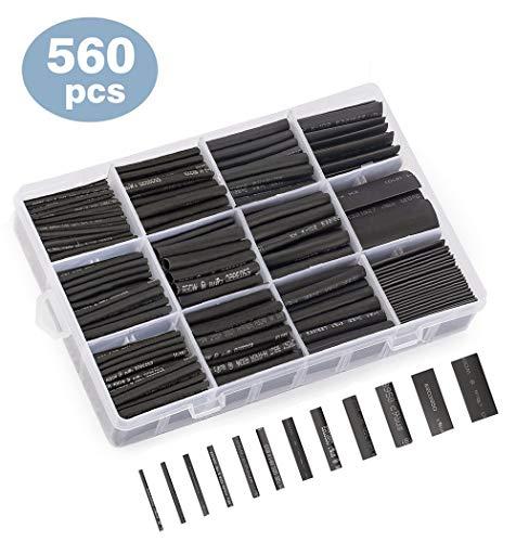 熱収縮チューブ 収縮チューブ 560ピースセット 絶縁チューブ 防水 12サイズ 1mm~13mm 収縮率2:1 高難燃性 ...