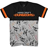 Minecraft Boys Video Game T-Shirt - Black and Green Creeper Face - Official Shirt (Black Grey, Small)