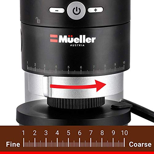 Mueller Ultra-Grind Conical Burr Grinder Professional Series, Innovative Detachable PowderBlock Grinding Chamber for Easy Cleaning and 40mm Hardened Gears for Long Life 6