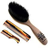 Beard & Mustache Set of Kent BRD5 Boar Bristle Beard Brush + Kent 81T Handmade Sawcut Comb + Kent A FOT Handmade All Fine Tooth Saw Cut Beard Comb - Grooming & Trimming Kit for Men Care