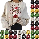 YINROM Sweat-Shirts Graphiques de Noël pour Femmes Mode Crewneck Loose Fit Casual Manches Longues Mignon Père Noël Renne Pulls Pulls Automne Tops Blouse...