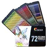 72 Crayon de Couleurs, Numérotés, avec Boîte Métal Zenacolor - Set de...