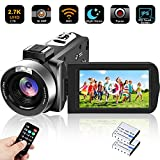 Camcorder Video Camera Ultra HD 2.7K WiFi YouTube Vlogging Camera 1080P 30MP 30FPS Digital Camera 3.0 Inch Touch Screen IR Night Vision Recorder with Remote Control,USB,TV Output,2 Batteries