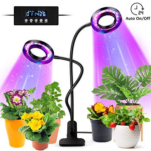 tronisky LED Pflanzenlampe, Pflanzenlicht 18W 36 LEDs Pflanzenleuchte mit Automatische Zeitschaltuhr, 3 Farbmodi, 5 Helligkeit, Grow Lampe Vollspektrum Wachstumslampe für Zimmerpflanzen