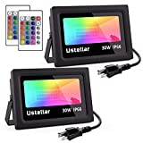 USTELLAR 2 Pack 30W RGB LED Flood Lights Indoor Outdoor Color Changing Floodlight with Remote IP66 Waterproof 16Colors 4Mode Decorative Lights Outside Dimmable Wall Washer Light Party Stage Lighting