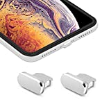 iMangoo 2 Pack Anti Dust Plugs for iPhone Xs Max 8 Pin Charging Port Plug iPhone 11 Pro Max Anti-dust Pluggy with Easy Storage Case, iPhone 10s Charge Port Plug for Apple iPhone XR XS Max Silver