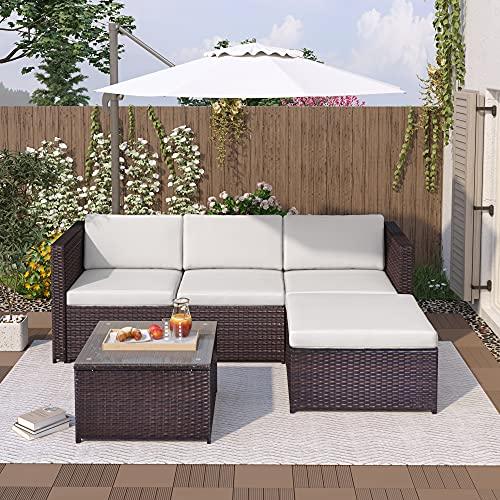 Mobili da giardino in polyrattan, divano angolare, divano con cuscino per seduta e schienale, tavolo lounge con piano in vetro (marrone)