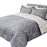 Bedsure Comforter Set King Size, Reversible Down Alternative Comforter Microfiber Duvet Sets (1 Comforter + 2 Pillow Shams), Tree Branch Floral, Grey&Ivory