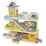 Leomark Garage en Bois, Parking à 3 Niveaux avec Ascenseur et Voitures,...