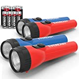 EVEREADY LED Flashlight Multi-Pack, Bright and Durable, Super Long Battery Life, Use for Emergencies, Camping, Outdoor, Batteries Included , Red,Blue,Bright White, 6.2' x 3.9' x 2.8'