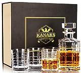 KANARS Whisky Karaffe und Gläser Set, 800ml Whiskey Dekanter mit 4X 300ml Gläser, Bleifrei Kristallgläser, 5-teiliges, Luxuriös Geschenk