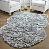 Gorilla Grip Original Premium Faux Sheepskin Fur Area Rug, 3x5, Softest, Luxurious Shag Carpet Rugs for Bedroom, Living Room, Luxury Bed Side Plush Carpets, Sheepskin, Gray