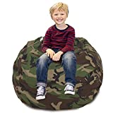 CALA Stuffed Animal Storage Bean Bag Chair- Extra Large 38' Kids Soft Toy Storage - 100% Cotton Canvas Bean Bag Chair(Camouflage)