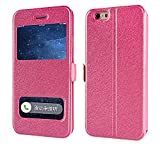 Luxury Smart Window View Case for iPhone X 7 8 Plus Stand Leather Flip Case for iPhone 6 6S Plus 5 5S SE 4 4S 4G Back Cover,Rose,for iPhone 6S Plus