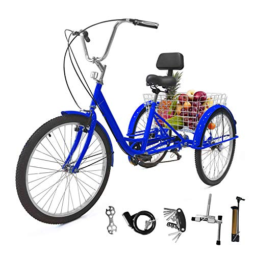 EOSAGA Adult Tricycle 7 Speed 24 Inch Trike Cruiser Bike Three-Wheeled BicycleBrake System and Basket Cruiser Bicycles Size for Shopping,Recreation with Large Basket, Lock, Bike Pump, Multi-Funct