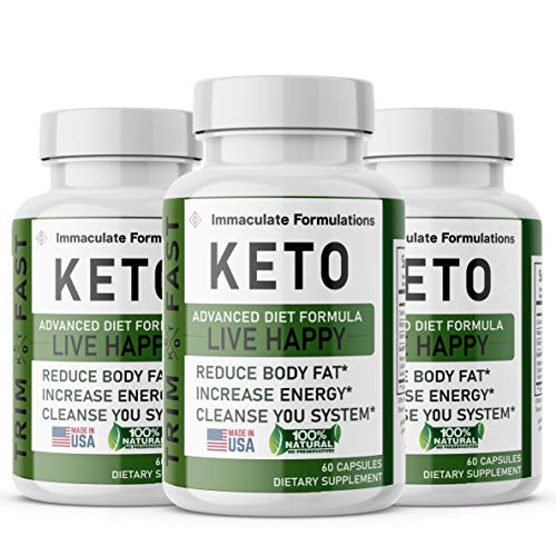 (3 Pack) Keto Trim Live Happy - Trim Fast Keto Pills - Keto Body Trim Fast Burn Supplement for Energy - BHB Ultra Boost Exogenous Ketones for Rapid Ketosis for Men & Women 1