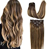 GOO GOO Clip in Human Hair Extensions Remy Ombre Chocolate Brown to...