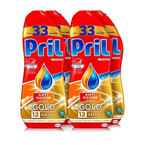 Pril Gold Gel lavastoviglie Anti Odore, Detersivo lavastoviglie con sgrassatore attivo, 132 lavaggi,...