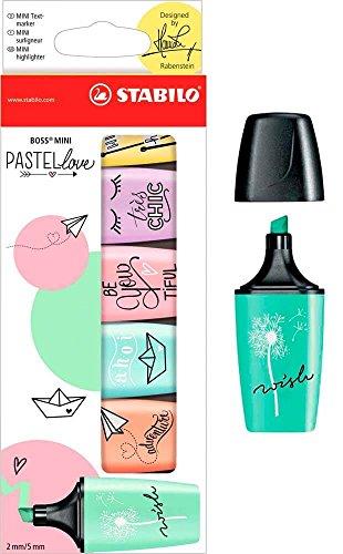 STABILO BOSS ORIGINAL Textmarker Marker Stifte–Mini Pastel Love–Full Range 6Stück